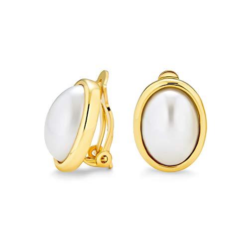 En Blanco Perla Simulado Bisel Cabujón Oval Pendientes De Clip Mujer No Perforados Oídos De Latón Chapado En Oro De 14K