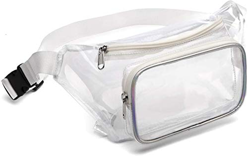 Fanny Pack, Veckle Clear Fanny Pack Waterproof Cute Waist Bag Stadium Approved Clear Purse Transparent Adjustable Belt Bag for Women Men, Travel, Beach, Events, BTS Concerts Bag, White