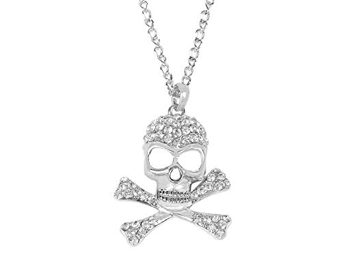 Alilang Clear Rhinestone Crystal Skull Crossbones Halloween Costume Pirate Jewelry Pendant Necklace