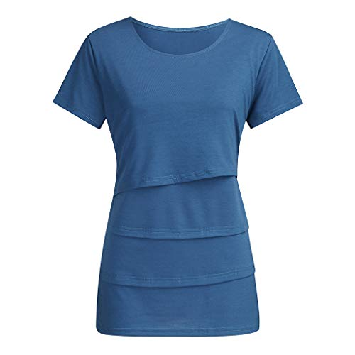 Summer Maternity Short Sleeve t-Shirt Tops Womens Pregnant Baby Nursing Mother Solid o-Neck Care Skin Tee Shirt Blouse (Blue, L)