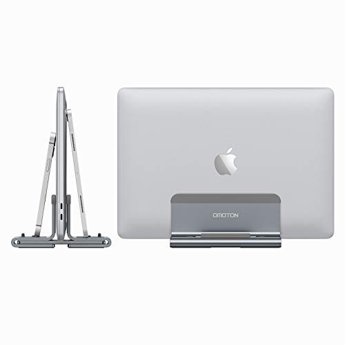 Vertical Laptop Stand, OMOTON 3-in-1 MacBook Stand Aluminum Desktop Stand Holder with Adjustable Dock Size, Compatible with All Laptops, Space Gary