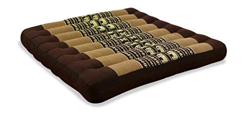 livasia Kapok Sitzkissen, 50x50x6cm, optimal als Stuhlauflage oder Meditationskissen, Bodenkissen BZW. Stuhlkissen (braun/Elefanten)