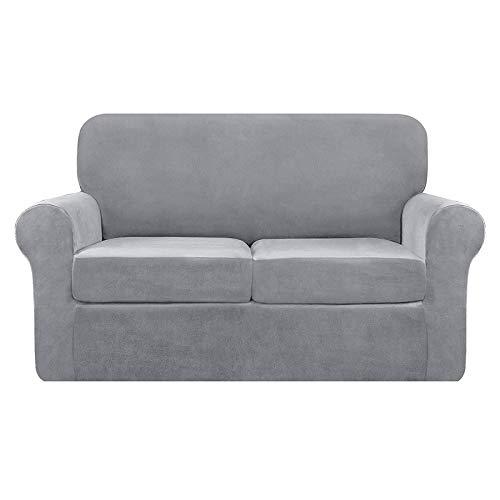 Funda de sofá de terciopelo elástico de 2 plazas, funda de sofá separada, suave de felpa, 2 plazas, terciopelo gris claro, 1 unidad