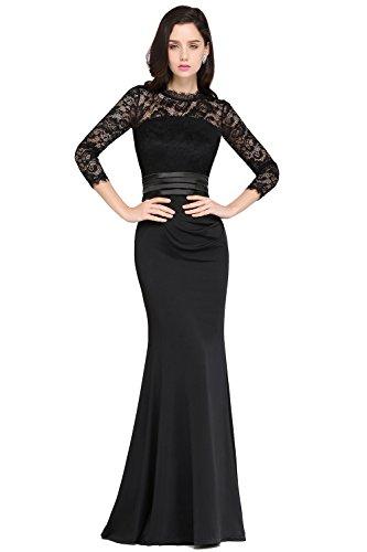 MisShow Damen Elegant Langes Abendkleid Ballkleider Spitzenkleider Brautjungferkleider 3/4 Arm- Gr. 46, Schwarz
