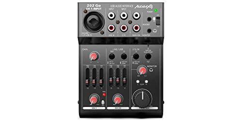 Audibax 202 Go - Mesa de Mezclas con 3 Canales, Interfaz de Audio USB, Entrada de Micrófono, Mesa Dj con Ecualizador de 2 Bandas, 100 x 40 x 135 mm, Alimentación Phantom de 48V