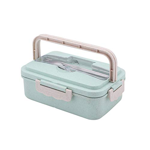 1000ML Wheat Straw Lunch Box Portable Thermal Food Container Microwave Oven Partition Food Fresh Box with Lid and Stainless Steel Cutlery (Nordic Green) Best Partner For Lunch