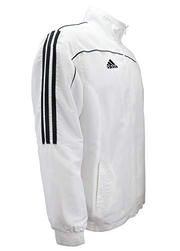 adidas Combat Sports Jacke mit 3 Streifen, 100 % Polyester, langärmlig, leicht, Weiß / Schwarz – Größe L