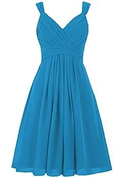 Short Beachy Wedding Bridesmaid Dresses Knee Length A Line Chiffon Formal Evening Party Gown for Juniors Ocean Blue