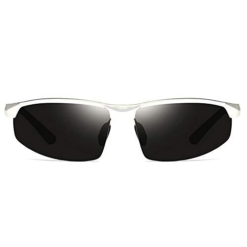TYXL Sunglasses Nuevas Gafas De Sol Polarizadas De Aluminio Brillante De Magnesio UV400 Tendencia Negro/Gris/Plateado Hombres Gafas De Sol De Conducción (Color : Silver)