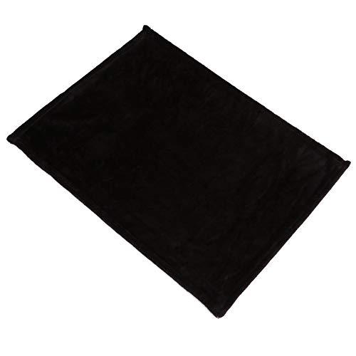 Suave manta de franela para cama de sofá de avión - Cómoda manta de franela súper suave y cálida de gran tamaño Manta de sofá de color sólido para el hogar Manta de oficina para coche 45x65cm - Negro