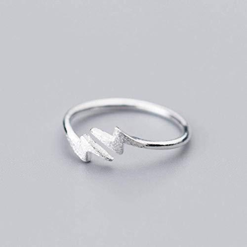 S925 zilveren Ring Women'S Koreaanse Mode Persoonlijkheid Bliksem Ring Open Tekening Ring Enkele Ring, S925 zilveren Ring, Opening Verstelbaar, EEH A ZILVER