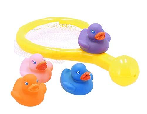 Bieco 11000303 - 5-teiliges Badespielset mit Catcher und 4 Badeenten, Quietscheentchen mit Netz zum Einfangen, Badespielzeug zum Planschen und Greifen für Kinder ab 12m+