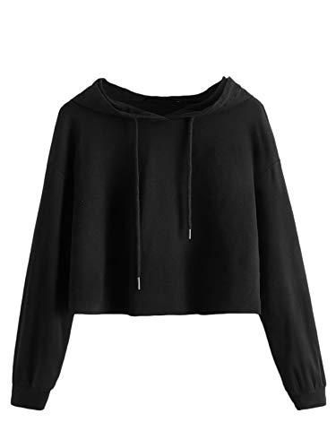 DIDK Damen Kapuzenpullover Langarm Kurz Sweatshirt Crop Oberteile Hoodie Kapuzensweatshirt mit Kapuze Bauchfrei Pullover Langarmshirt Cropped Pulli Schwarz#3 M
