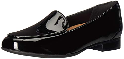 Clarks womens Un Blush Ease Loafer, Black Patent Leather, 5 US