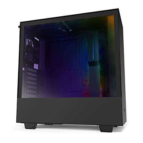 NZXT H510i CA-H510i-B1 - Caja para Videojuegos compacta ATX (ATX, Puerto Frontal I/O USB Type-C, Soporte Vertical para GPU, Panel Lateral de Cristal Templado, iluminación RGB integrada), Color Negro