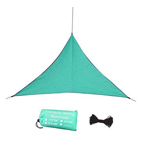 Triángulo Sombrilla Sol Refugio Verano Protección UV Protección Al Aire Libre Patio Patio Piscina Sombra Vela Toldo Camping Piscina Sol Sombra con Cuerdas (Color : Green-B, Size : 6X6X6M)