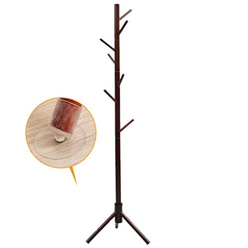 SKC Lighting-Porte-manteau Plancher de meuble en bois massif à la pièce Ensemble de vêtements à tracteur simple (Couleur : Marron)