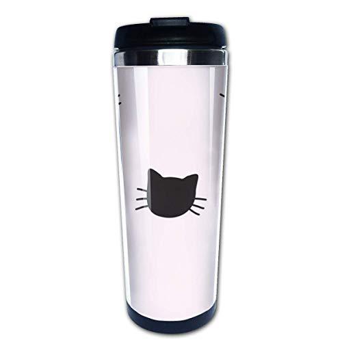 Taza de viaje de café de gatos dibujados a mano Tazas de café con tapas Taza de acero inoxidable para hombres y mujeres