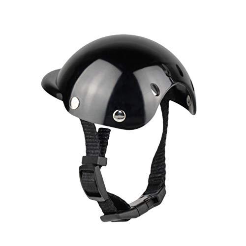 N / A Casco para Mascotas Accesorios para Sombreros para Perros Casco para Moto para Perros y Gatos (Negro, S)