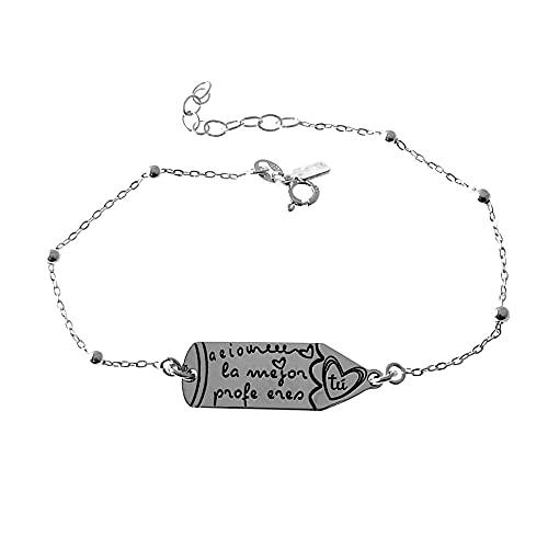 925 silverarmband kombinerad kedja 18cm Sterling. penna detalj meddelande AEIOU den bästa läraren ÄR DU - Anpassningsbar - INSPELNING INGÅR I PRIS