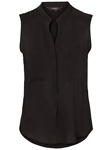 VERO MODA Damen VMERIKA S/L SOLID Shirt NOOS Top, Schwarz (Black Black), L