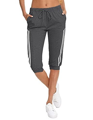 Doaraha Pantalones Pirata de Running Mujer Pantalón Capri Pants Deportivos 3/4 Capris Chándal Cintura Alta con Bolsillo para Deporte Yoga Fitness Correr Entrenamiento (Gris Oscuro, L)