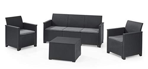 Keter Emma Lounge Set, Set Mobili da Giardino in Rattan con Divano 3 Posti 2 Poltrone e Tavolino , Grafite