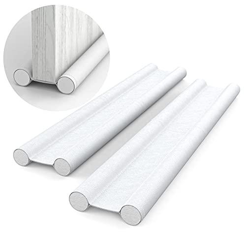 H HOMEWINS Zugluftstopper für Türen Weiß 2er Set - Zuschneidbare Türdichtung gegen Zugluft - Energiesparende Türbodendichtung bis zu 88 cm - Schutz vor Lärm und Kälte