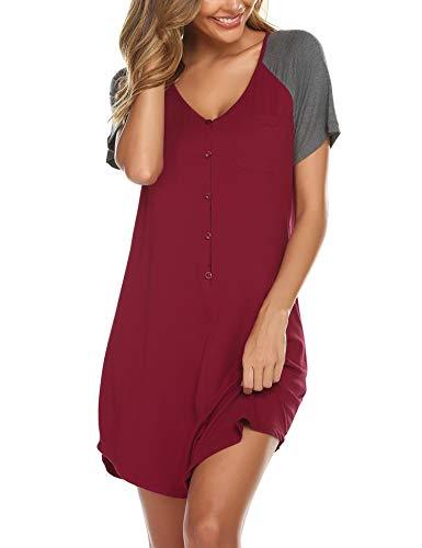 Lucyme Nachthemd Damen Kurz Stillnachthemd Kleider Sommer Nachtwäsche Schwangerschaft Kurzarm Umstandsnachthemd mit Knopf