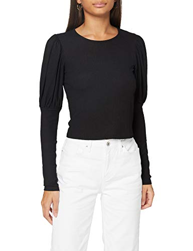 Miss Selfridge Black Puff Sleeved Long Sleeve Top Camicia da Donna, Nero, 10