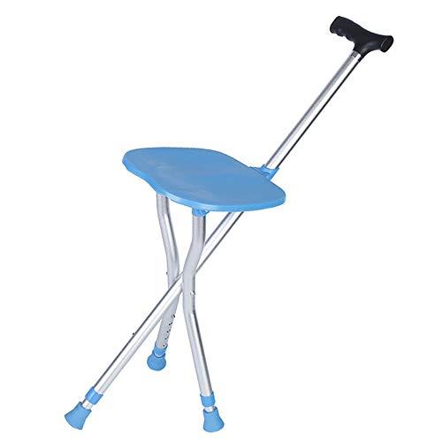 WJQ Multifunktions-Cane-Stuhl, der mit Sitz-Teleskop-Justage-Höhe faltet Anti-Rutsch stark und fest, ohne Gewicht zu verlieren leicht, mit der Familie Frieden von Verstand umzugehen