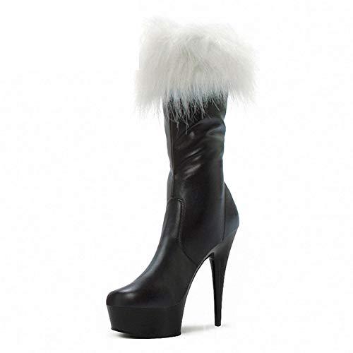 YHZQ Botas para Mujer, Navidad Rojo Botas Sexy, Papá Noel Cosplay, Piel High Boots, 15cm Super High Heel Knee Boots High Black matte-EU36