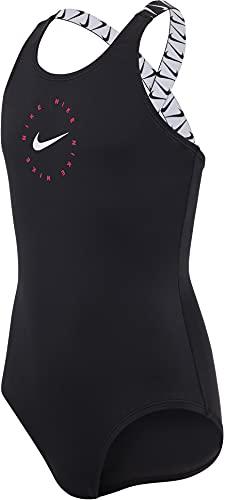 Nike Crossback One Piece Badeanzug für Mädchen, Mädchen, Trainingsanzug, NESSB714-001, schwarz, S