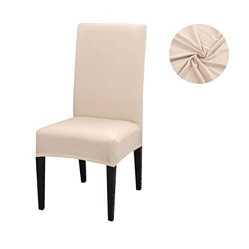 Pilang Zxxin-Stuhlhussen Spandex Stretch Chair Covers, Massivfarbstuhlabdeckung, für Esszimmer Kitchen Hochzeit Bankett, hohe Qualität (Color : Cream, Specification : Universal)