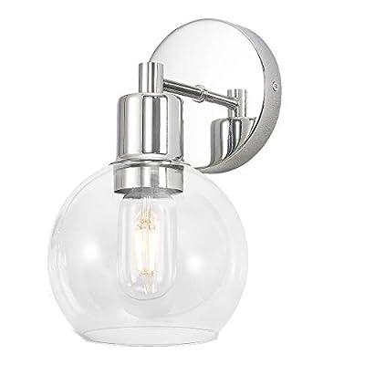 HUESLITE Indoor Wall Sconce Fixture,1-Light Chrome Modern Metal Vanity Light with Globe Clear Glass Lights Shade for Bathroom Lighting,(Chrome)