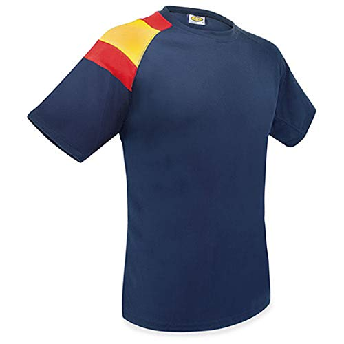 GARGOLA.ES OPERADORES DIGITALES Camiseta Bandera D&F- Azul Oscuro- con la Bandera de España- Camiseta Tecnica (L)