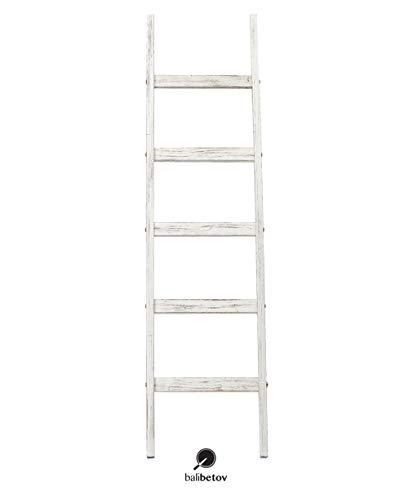 BALIBETOV Dekenladder-Decoratieve houten deken Rustieke ladder Badkamerplank- -Badkamerdecoratie-Houten kleding Droogrek-Witte plankladder Boekenrek-Handdoekrekstandaard (RUSTIEK WIT, 122 cm)