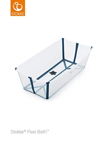 STOKKE Flexi Bath Extragrande - Bañera de bebé plegable para ducha │ Piscina portátil antideslizante para niños hasta los 6 años - Color: XL Transparent Blue