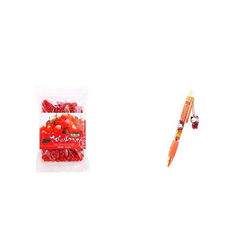 [2点セット] 収穫の朝 さくらんぼグラッセ ラム酒風味(180g)・飛騨さるぼぼだっこキティ ボールペン / 子宝・安産祈願 //