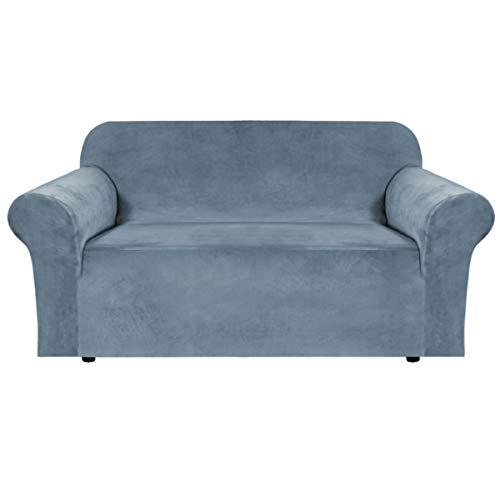 H.VERSAILTEX Stretch Velvet Sofa Covers for 3 Cushion Couch Covers Sofa Slipcovers with Non Slip Straps Underneath The Furniture, Crafted from Thick Comfy Rich Velour (Sofa 72'-96', Stone Blue)