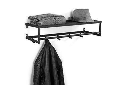 LIFA LIVING Perchero Pared con Estante y 5 Ganchos, Metal Negro, para almacenaje de Abrigos, Bolsas y Varios, 75 x 26 x 20 cm