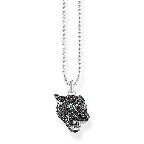 Thomas Sabo Damen Halskette Black Cat 925 Sterlingsilber, 38-42 cm Länge