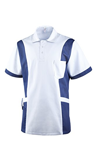 Clinotest Herrenkasack Julius, Gesundheitswesen, für die Pflege, Berufsbekleidung, in Trendfarben (XL, weiß/blau)