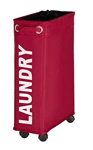 WENKO Wäschesammler Corno rot, Wäschekorb extra schmal für kleine Nischen, Wäschetonne mit Rollen, Wäschetruhe mit Griff, 100% Polyester, Fassungsvermögen 43 L, 18,5 x 60 x 40 cm