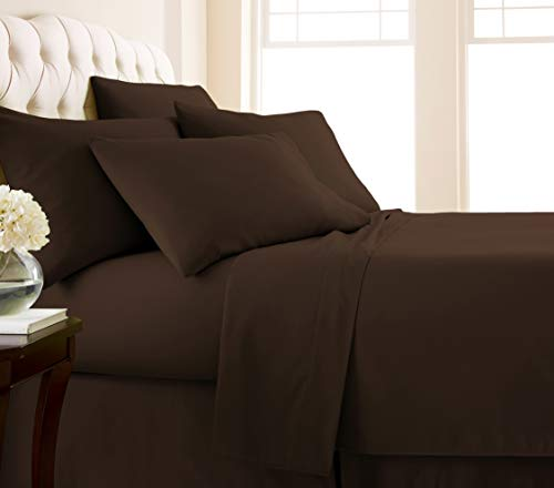 Southshore Fine Living, Inc. Vilano Springs - Premium Collection 6-Piece, 21 Inch Extra-Deep Pocket Sheet Sets, Chocolate Brown, Queen