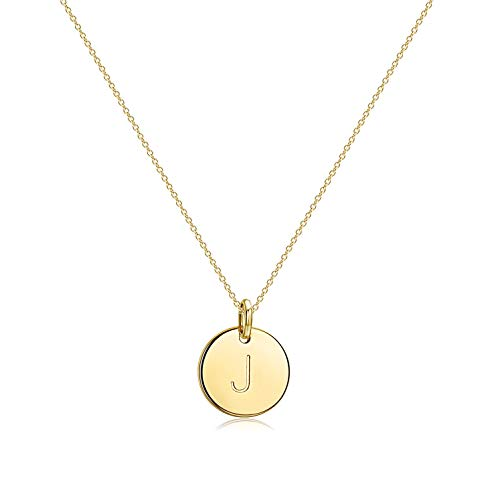 Befettly Initial Necklace Pendant 14K Gold-Plated Round Disc Double Side Engraved Hammered Choker Necklace 16.5'' Adjustable Personalized Alphabet Letter Pendant J