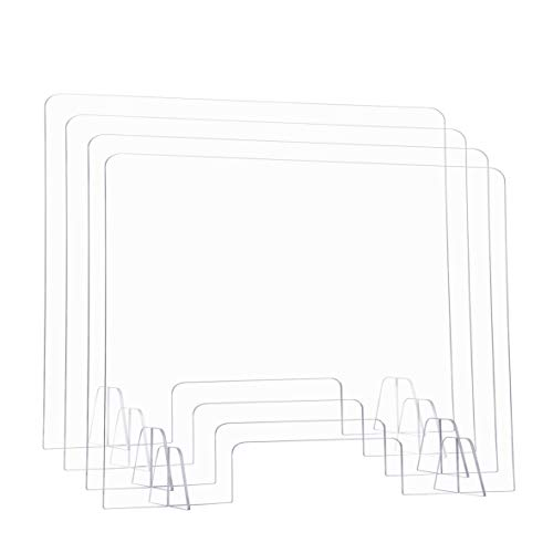 EAMATE 24'x16' Sneeze Guard, Portable Desktop Plexiglass Barrier, Clear Acrylic Shield for Counter, Front Desk, Receptionist, Cashier, Set of 4