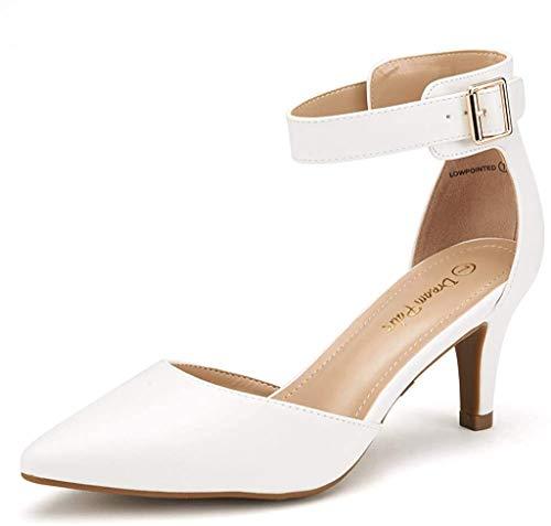 Dream Pairs Lowpointed Zapatos de Tacón Vestir para Mujer Blanco PU 38 EU/7 US