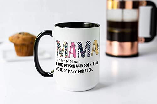 N\A Mama Definición Día de la Madre es café Taza del Regalo con Rosa y Amarillo de los Lunares, mamá Una Persona Que Hace el Trabajo de Muchos de Forma Gratuita