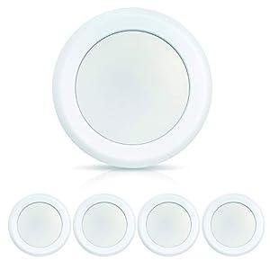 ECOELER 6 Inch LED Flush Mount Ceiling Light, Surface Mount LED Disk Light, Aluminum Baffle Trim, 15W, 4000K Cool White, 1100LM, Dimmable. Energy Star & ETL Listed, 4Pack